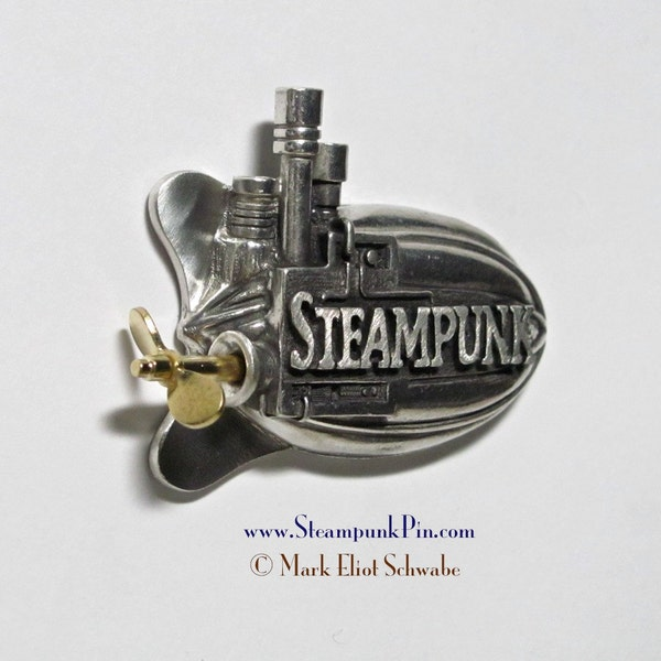 Steampunk pin the word Steampunk front & center  image 1