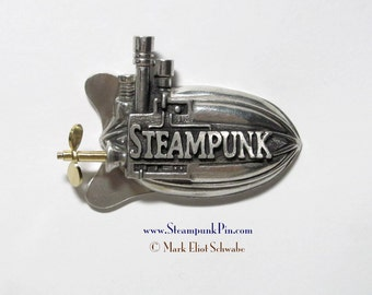 """Steampunk pin, the word """"Steampunk"""" front & center - declare your style! This is the limited edition version with SPINNING propeller"""