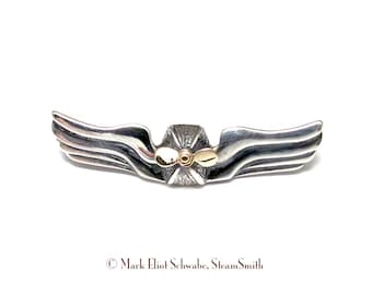silver and gold SteamPunk Airship Commanders Wings - double tac pin - propeller SPINS!