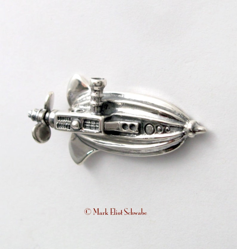 Sterling Silver Airship brooch pin  It is interactive  the image 0