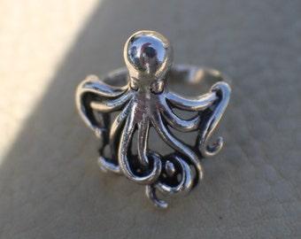 Sterling Octopus, Octopus Ring, Silver Octopus Ring