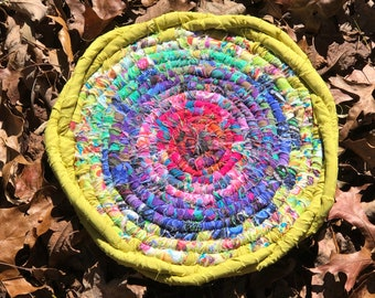 Mandala, circular wall decor, fabric art, textile art, pink purple lime green, colorful, meditation, shipping included