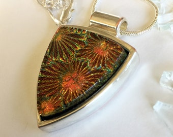 Orange Gold Starburst Fused Glass and Silver Plated