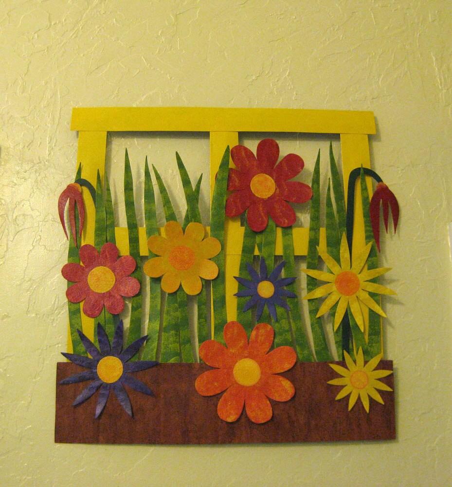 Flower wall art metal sculpture kitchen wall decor Window