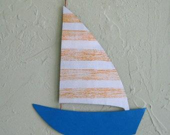 Sailboat Metal Wall Art Marine Sculpture Reclaimed Metal Wall Decor Ocean  Beach House Bathroom Kids Playroom