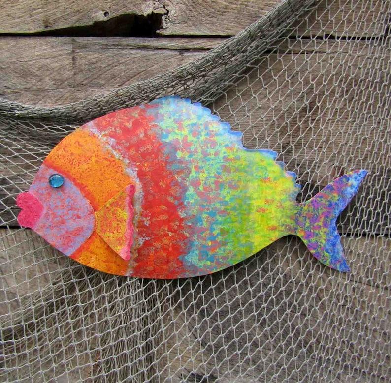 e6edeafde74 Large size fish art metal wall sculpture Tropical fish sculpture 11