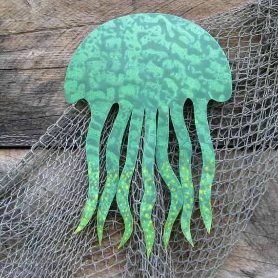 Jellyfish art metal wall sculpture sea life decor etsy