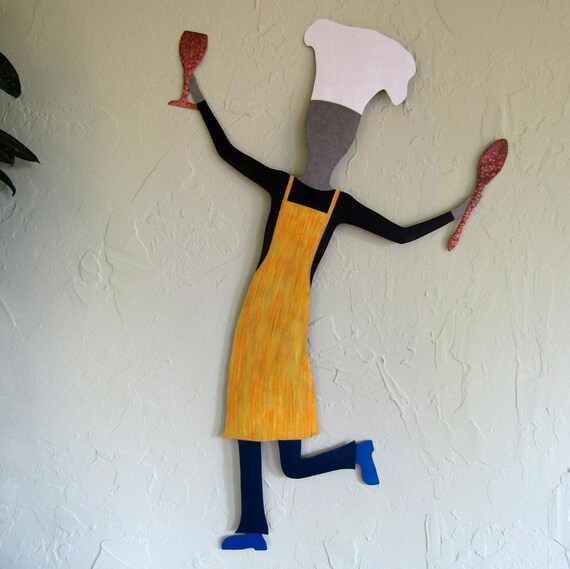 Male Chef Sculpture Large Metal Kitchen Wall Art Dancing Chef Dining Room  Wine Decor Yellow Black Recycled Metal Guy Chef 19 x 31
