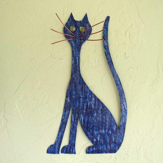 Metal Wall Art Cat Sculpture Kitty Decor Purple Cobalt Blue