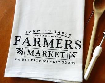 Farmers Market Tea Towel, Screen Printed Flour Sack Dish Towel, Farm to Table Kitchen Towel, Farmhouse Decor, Farmhouse Kitchen