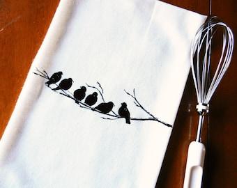 Birds on a Branch Tea Towel, Screen Printed Flour Sack Dish Towel, Bird Kitchen Towel