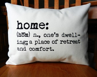 "Home Pillow Cover, Dictionary Description of Home Pillow, Home Pillow, Cottage Chic Pillow Cover, Farmhouse Decor, fits 12x16"" pillow insert"
