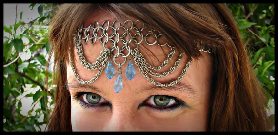 Chainmail Head Piece Chain Mail Circlet Chainmaille Head Band Chainmaille Crown with Blue Pearls