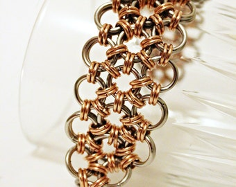 Elegant classic Japanese Weave Stainless steel and Bronze  bracelet  Steampunk Chainmaille