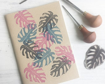 Monstera Leaf Notebook - Lino Printed - Block Printed - Plain Page Notebook - Stationery Addict - Plant Addict