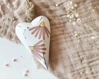 Come Flower Painted Hanging Decorative Heart