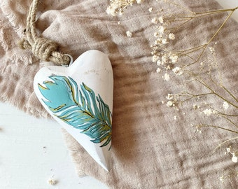 Feather Painted Hanging Decorative Heart
