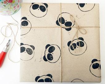 2 x panda gift wrapping - wrapping paper - gift wrap - lino cut printed - pandas - wildlife