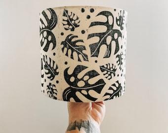 Botanical leaf lino block printed handmade fabric drum lampshade