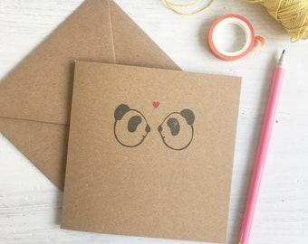 panda greeting card - handmade - pandas - rubber stamp - lino carve - block print