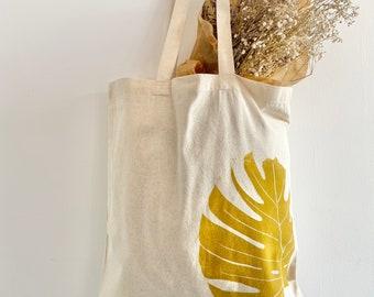 Monstera Gold Print Tote Bag