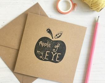 Apple of my eye - teacher card - thank you card - thinking of you - kraft - lino printed