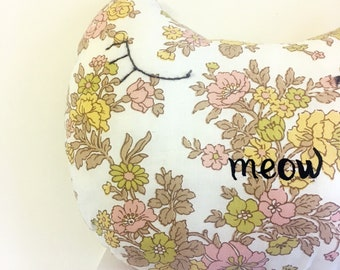 vintage retro fabric cat meow cushion - reuse - upcycle - cat - handmade - embroidered
