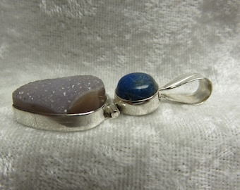 Grey/Violet Druzy and Lapis Lazuli Pendant/Necklace