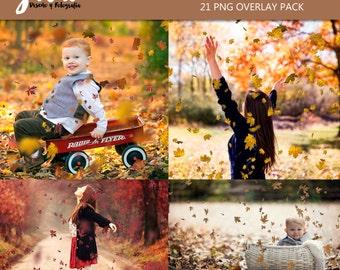 21 AUTUMN LEAVES Photoshop Overlays, Halloween overlays, fall overlays, falling tree leaves effect, photoshop overlay, fall leaves overlay