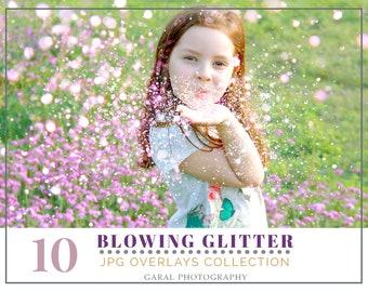 10 GLITTER BLOWING Photoshop Overlays, photoshop overlay, pixie dust, bokeh effect, glitter overlay, glitter overlays, photography