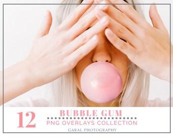BUBBLE GUM BUBBLES Photoshop Overlays, Photoshop Overlay, Png files, bubblegum, bubbles, photography, outdoor, summer photos, Portrait, face