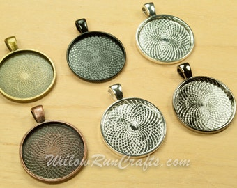Gun Metal and Black 20 pcs 25mm Circle Pendant Trays Silver Blank Bezel Cabochon Setting Antique Bronze Ant Copper Ant Silver