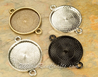 Blank Bezel Cabochon Setting 20 pcs 25mm Circle Pendant Trays Silver Plated 25mm Double Connector Bezel 19-16-416