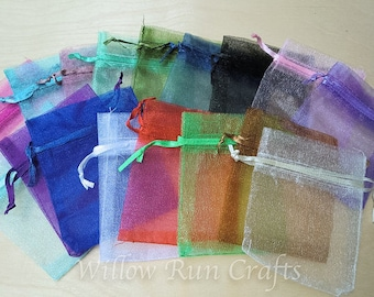 15 Pack 3x4 Organza Gift bags, 3 in x 4 in, Mix of Colors (222-222-222)