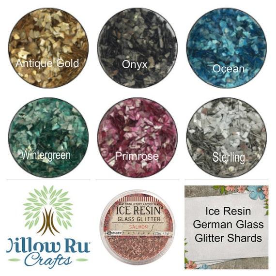 Pack of 3 Glass Glitter Shards Ocean