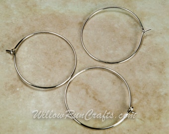 100 Silver Wine Charm Rings 25mm for wine charms, earring hoops (07-13-192)