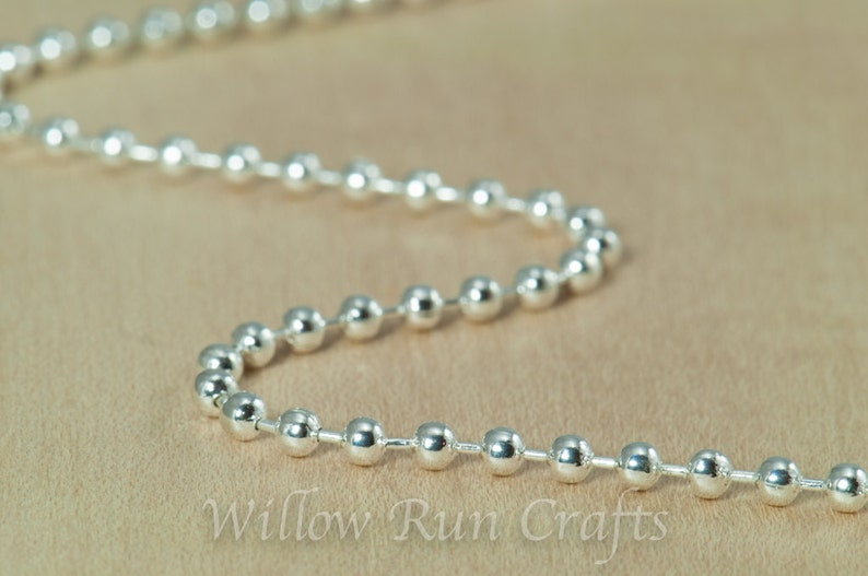 10 High Quality 20 inch Shiny Silver Plated Ball Chain 2.4 mm with Lobster Clasp 15-40-306