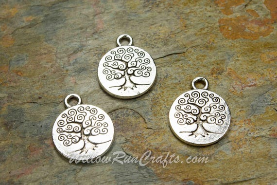 10 Tree Charms Antiqued Silver Charms Tree of Life Charms Tree Pendants