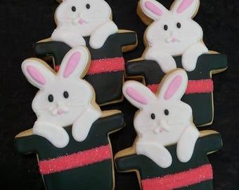 Party Cookies - Rabbit in Hat Cookies - 12 Cookies