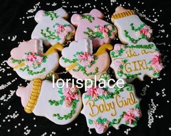 Floral Baby Shower Cookies - 16 Cookies