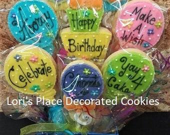 Birthday Cookie Bouquet - Balloon Cookie Bouquet - 8 Cookies