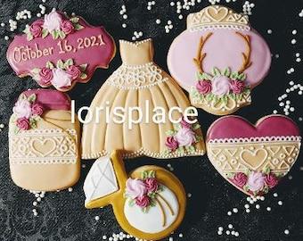Rustic Wedding Cookies - 12 Cookies