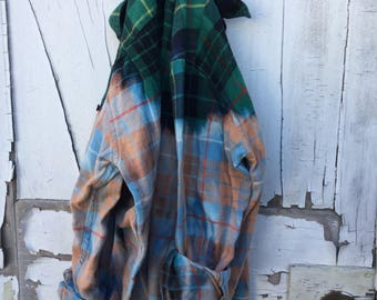 Sm/Med Green & Black Faded Vintage Wash Flannel