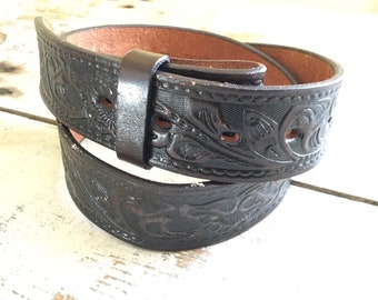 Tooled leather snap belt
