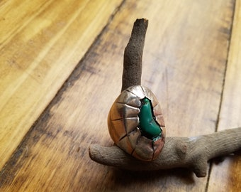 Natural Green turquoise shadowbox Navajo silver ring