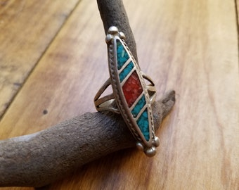 Vintage Red Coral & Turquoise chip inlay sterling silver ring