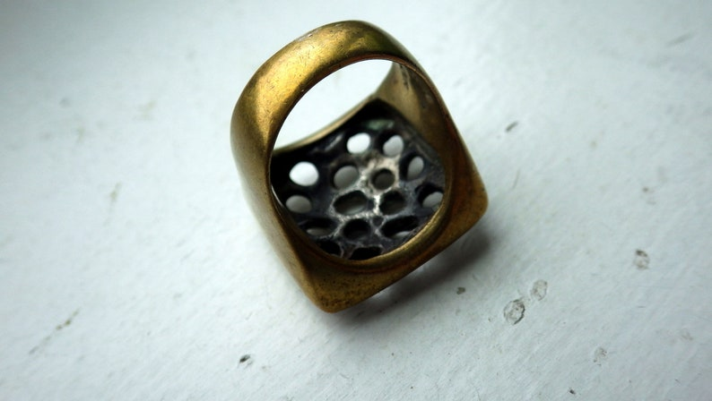 Brutalist Style Unusual Sterling and Brass Ring 1970s Handmade Size 7.5-8.