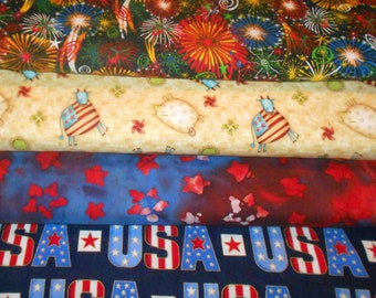 3a0386ff114 PATRIOTIC #4 Fabrics, Sold INDIVIDUALLY not as a group, by the Half Yard