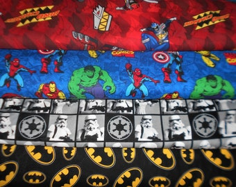 SUPER HERO Fabrics #7, Power Rangers, Marvel, Star Wars Storm Troopers, Batman, Sold INDIVIDUALLY not as a group, by the Half Yard