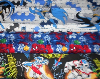 SUPER HERO Fabrics #17, Batman, Spiderman, Vr Troopers (spinoff of Power Rangers), Sold INDIVIDUALLY not as a group, by the Half Yard